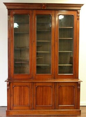 AU5400 • Buy Antique Library Bookcase Cabinet Circa 1880 Adjust Shelves Working Locks & Keys