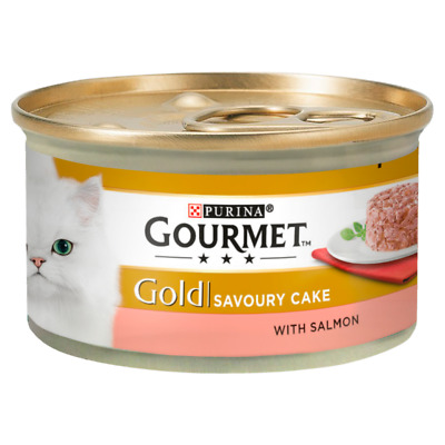 Gourmet Gold 85g Savoury Cake With Beef / Chicken /Salmon Cat Food - 12 Pack • 4.99£