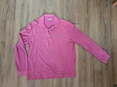 Mens Lacoste Polo Shirt Size 5 - Pink Long Sleeve • 4.99£