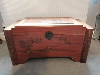 Vintage Oriental Camphor Wood Carved Storage Trunk Chest Coffee Table • 265£