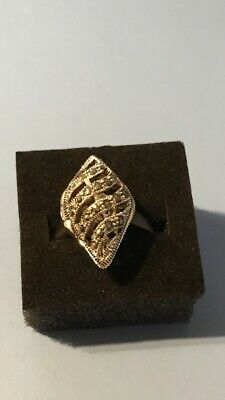 Ladies 925 Silver Ring Decorated With Crystal Glass And Marcasite (Size R) • 10.99£