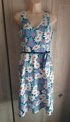 BODEN Women's 100% Cotton Blue Mix Floral Daisy Print Midi Dress UK 10 R • 22£