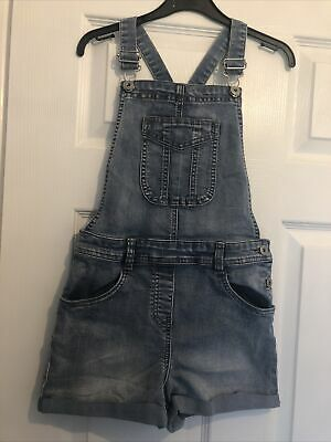 Girls Denim Dungaree Shorts Age 9-10 Year George • 1.50£