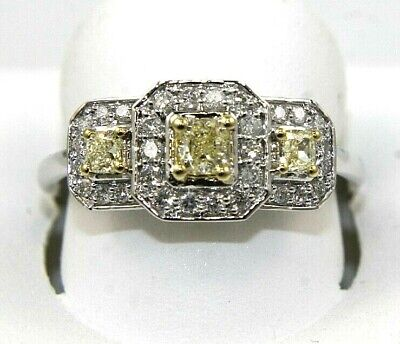 Canary Yellow Princess Diamond Triple Solitaire Square Ring 14k White Gold .75Ct • 645.61£