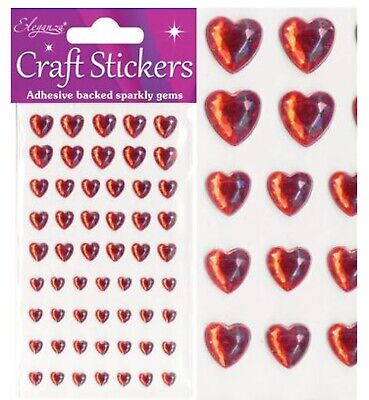 £2.20 • Buy Craft Stickers Red Pearl Diamond Hearts Sparkly Gems Card Making Self Adhesive