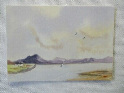 Aceo Original Watercolour Painting  SEA VIEW  SEASCAPE • 1.50£