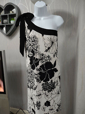 Todays Woman Black & White Floral Dress Size 10-12 • 1.90£