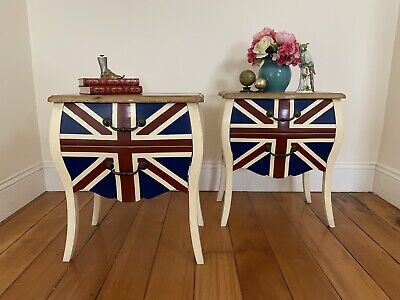 AU76 • Buy Pair Antique French Louis Style Bombe Bedside,Lamp Table-Union Jack Flag-Drawers