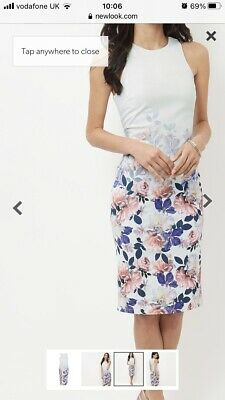 Women's Floral Sleeveless Bodycon Midi Dress New Look Size 12 • 15£