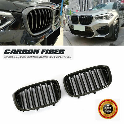 AU194.65 • Buy For BMW X3 G01 X4 G02 18-19 Front Grille Grill Carbon Fiber Glossy Black 2PCS