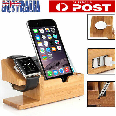 AU18.29 • Buy Wooden Charging Dock Stand Station Charger Holder For Apple Watch IWatch IPhone