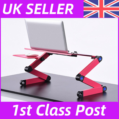Adjustable Folding Laptop Stand Tray Desk Table With Mouse Pad Dual Cooling Fan • 16.99£