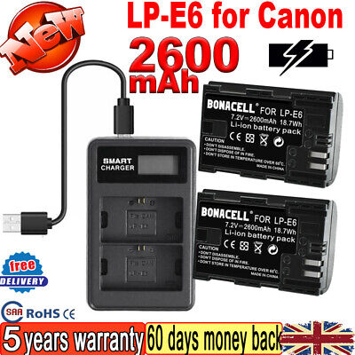 2X Battery + Dual Charger For Canon LP-E6 LP-E6N EOS 70D 7D 60D 5D Mark II III O • 19.99£