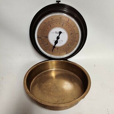 1970s Vintage Salter Kitchen Weighing Scales With Brass Pan Wall Hung & Fold Up • 24.99£