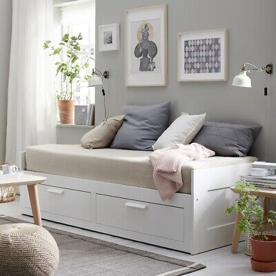 IKEA BRIMNES Daybed With 2 Mattresses And 2 Drawers. • 120£