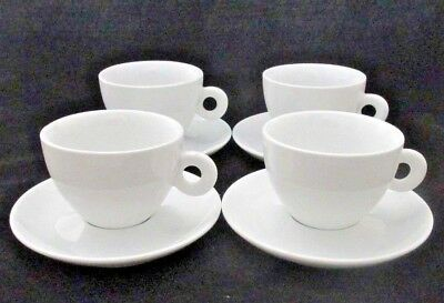Set Of 4 Illy Style Cappuccino Cups & Saucers Set New! • 28.61£