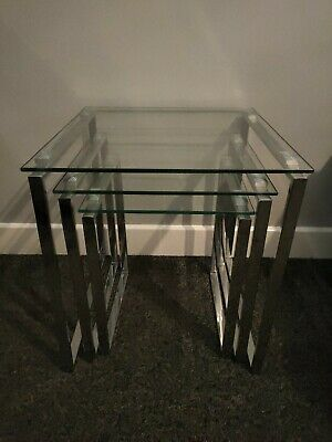 Next Set Of 3 Nest Of Tables Glass Top Metal Legs RRP £150 • 60£