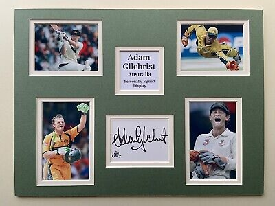 AU71.20 • Buy Australia Cricket Adam Gilchrist Signed 16  X 12  Double Mounted Display