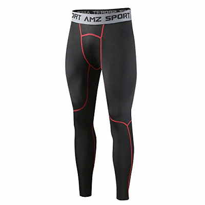 AMZSPORT Men's Thermal Compression Leggings Tights Fleece Base Layer Winter Red, • 20.45£