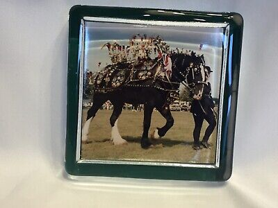 10 Cm Square Shaped Glass Paper Weight With A Picture Of Shire /Heavy Horse • 2£