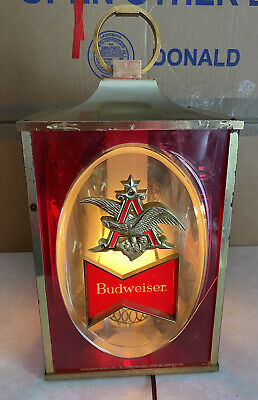 $ CDN113.62 • Buy Vintage BUDWEISER Lighted 4 Sided Hanging Bar Beer Advertising Sign