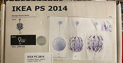 NEW IKEA PS 2014 Pendant Lamp 14  Diameter White/Copper Color - Bulb Excluded • 70.05£
