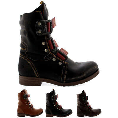 Ladies Fly London Stif Low Heel Buckle Army Biker Leather Ankle Boots All Sizes • 129.99£