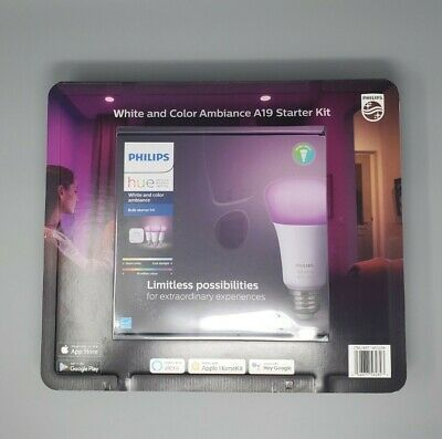 AU194.43 • Buy Philips Hue White And Color Ambiance Bulb Starter Kit (3x A19 Bulbs & Hub)