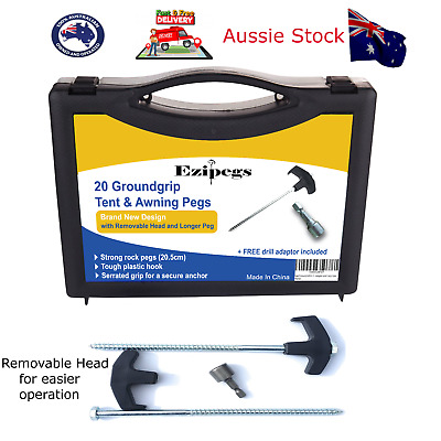AU34.99 • Buy Tent Awning Annex Screw In Tent Pegs Unique Camping Tent Stakes Pack Of 20 (NEW)