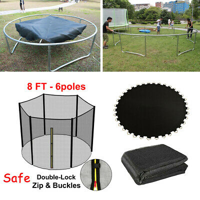 £76.08 • Buy 8ft Trampoline Mat 6-pole And PE UV-resistance Safety Net Enclosure Fence Guard