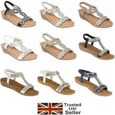 Ladies Womens Sandals Sling Back Gladiator Mid Low Wedge Summer Beach Shoes Size • 11.95£