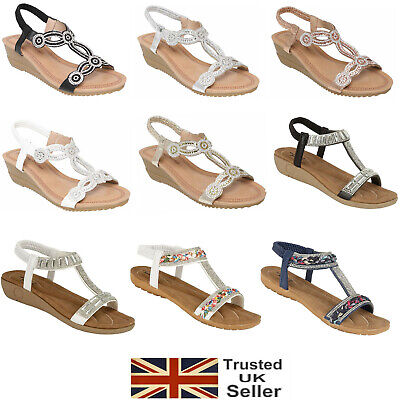 £11.95 • Buy Ladies Womens Sandals Sling Back Gladiator Mid Low Wedge Summer Beach Shoes Size