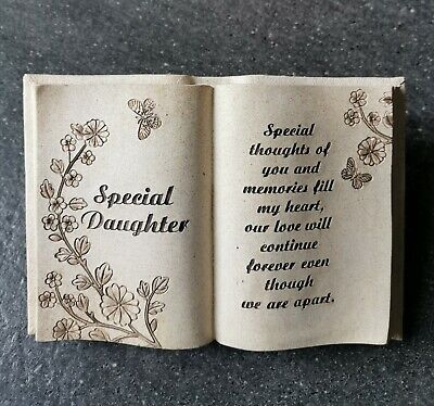 £9.95 • Buy DAUGHTER Graveside Memorial Book With Butterfly Grave Plaque Funeral Cremation
