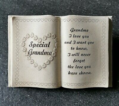 £9.95 • Buy GRANDMA Graveside Memorial Book With Heart Grave Plaque Funeral Cremation