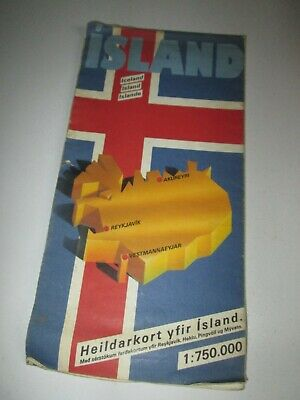 Vintage Terrac Road Map Of Iceland 1 : 750.000 L3 • 2.99£