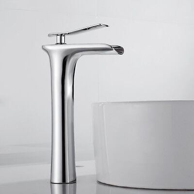 £40.79 • Buy Bathroom Basin Mixer Taps Waterfall Taps Tall Counter Top Brass Faucets Chrome