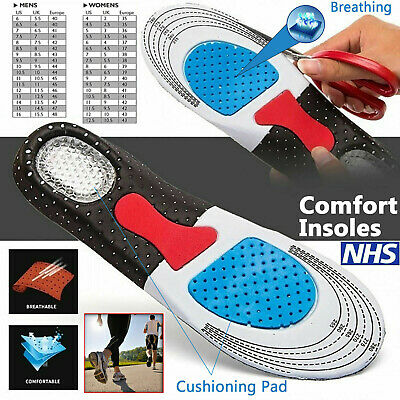 £2.99 • Buy Orthotic Insoles For Arch Support Plantar Fasciitis Flat Feet Back Heel Pain UK.
