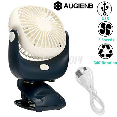 AU14.41 • Buy 3 In 1 Mini Cooling Fan 360° Rotation Clip On Desk Portable USB Rechargeable