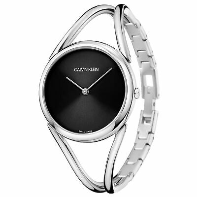 £180 • Buy Calvin Klein Lady Quartz Black Dial Silver Steel Bracelet Ladies Watch KBA23121