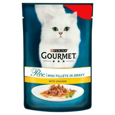 Gourmet Perle Mini Fillets In Gravy With Chicken 85g X 24 Packs Cat Food • 20.95£