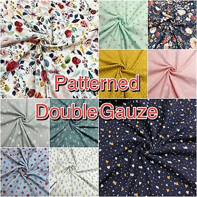 £9.25 • Buy Double Gauze Fabric Cotton Patterned Nursery Dressmaking Craft Material Muslin