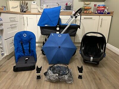Bugaboo Cameleon Grey & Blue Travel System Pram Set + Maxi Cosi Car Seat • 279.99£