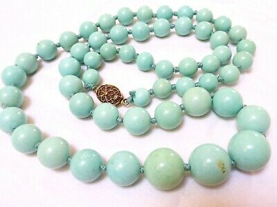 $880 • Buy VINTAGE CHINESE 100% NATURAL BLUE TURQUOISE 8.5mm-15.8mm BEADS NECKLACE 90 GRAMS