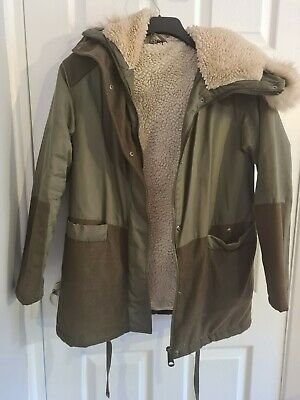 Green Hooded Parka Top Shop Coat Size 6 • 15£