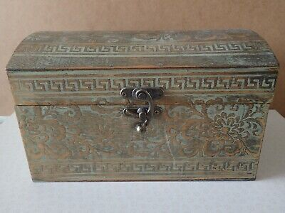 Paterned Wooden Box With Hinged Lid 25x16x15.5cm    (PB3) • 3.50£