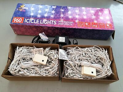 960 Icicle Lights With Snow Effect Christmas 960 Bright Indoor Or Outdoor 9.5m • 65£