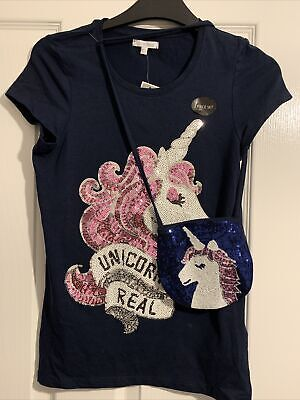Girls Blue Zoo Sparkly Sequin Unicorn T Shirt Age 11/12 With Matching Purse. • 2.50£