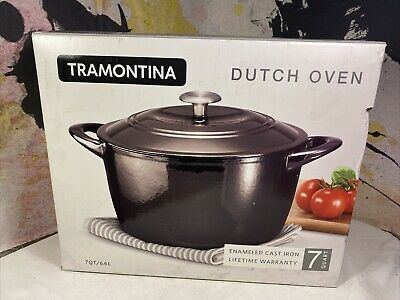 $ CDN126.87 • Buy Tramontina Enameled Cast Iron 7-Qt. Covered Round Dutch Oven Black Beautiful
