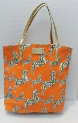 $ CDN25.31 • Buy Kate Spade New York Canvas Tote Orange Zebra Accent