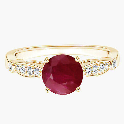 AU340.10 • Buy Classic Round Ruby Solitaire With Simulated Diamond Ring 9K Yellow Gold